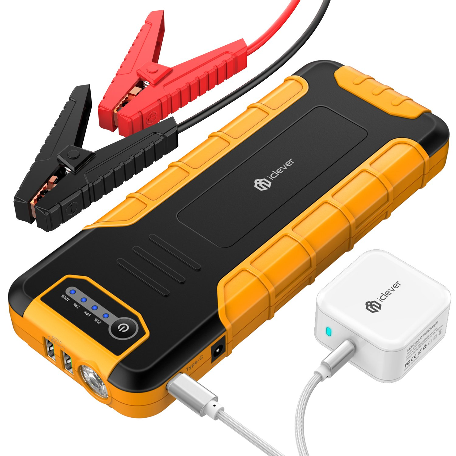 iClever [PD 30W Input & Output] 20000mAh Car Jump Starter (up to 8L Gas or 6.5L Diesel Engine), Power Delivery 30W Power Bank with Dual USB 3.0 Quick Charging for Nintendo Switch and MacBook