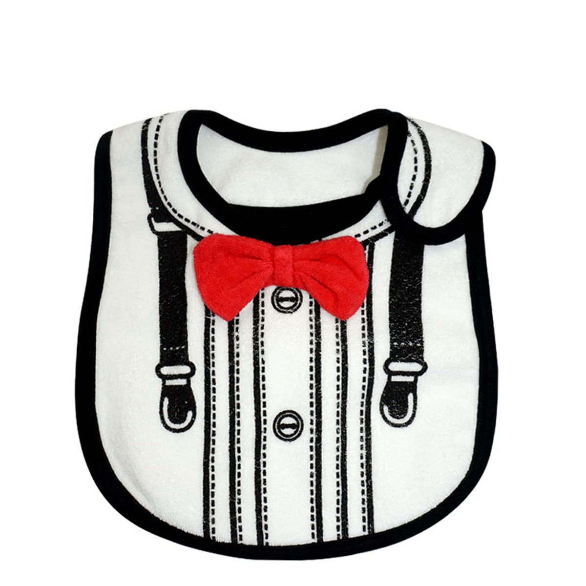 Lovely Suits Style Baby Cotton Drool Bibs with Magic Stick for Babies and Toddlers (White) by AngelGift   B00S0IL8VO