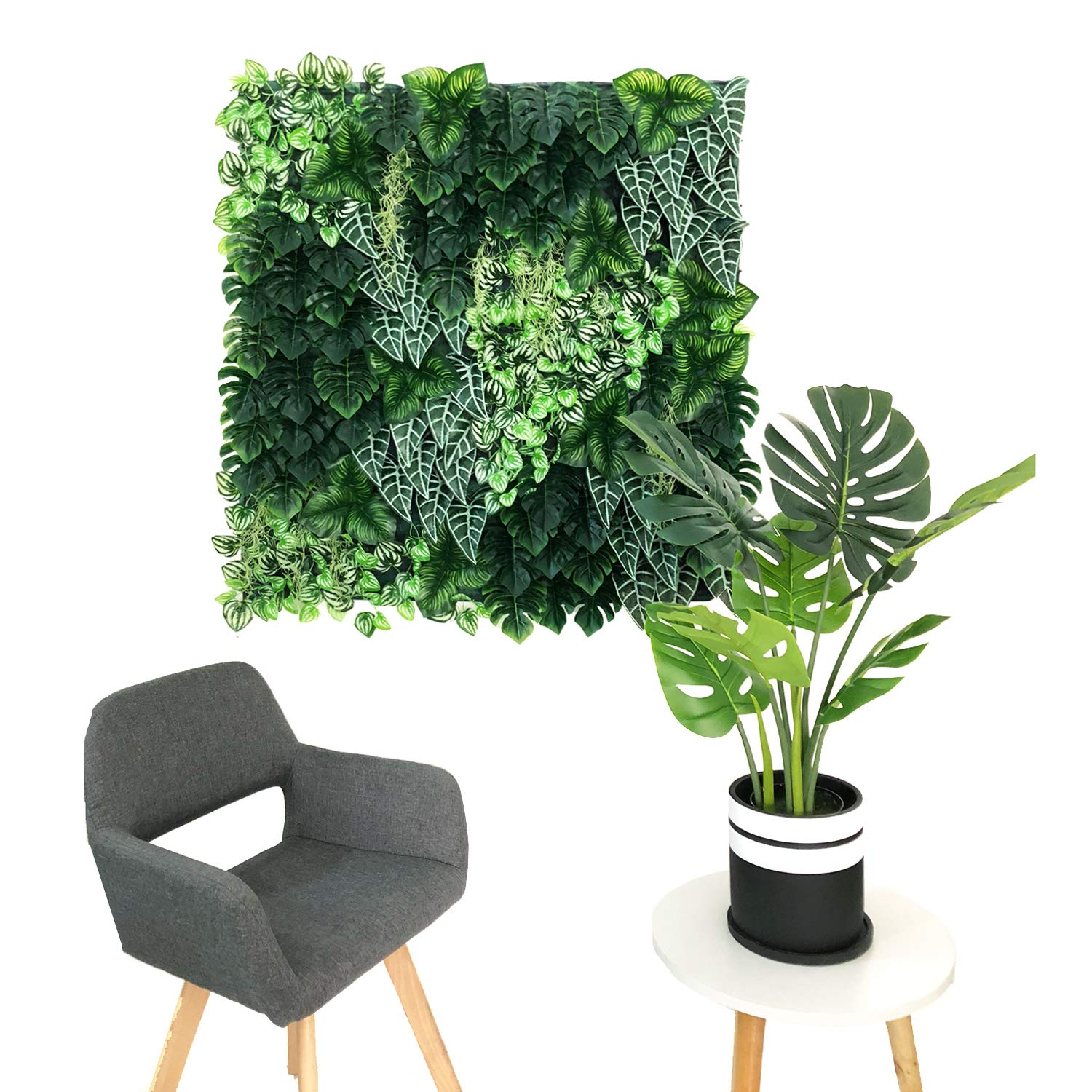 Cable Ties Included BESAMENATURE 30pcs 1x1ft Artificial Plants Wall Boxwood Hedge Mat Dark Green UV Protection High Density Greenery Panels