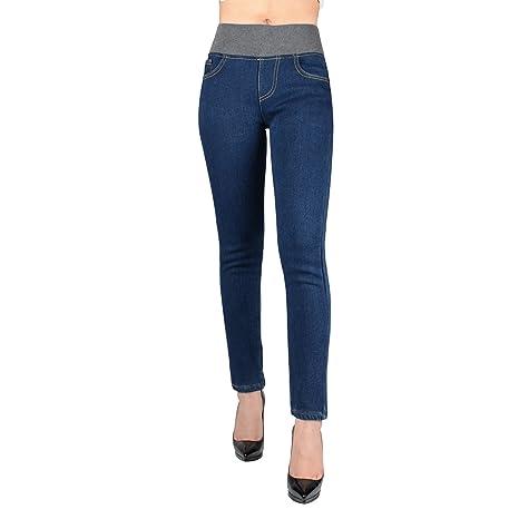 Pantaloni aderenti stretti skinny slim fit aderenti in pile da donna a vita alta con spalline sottili