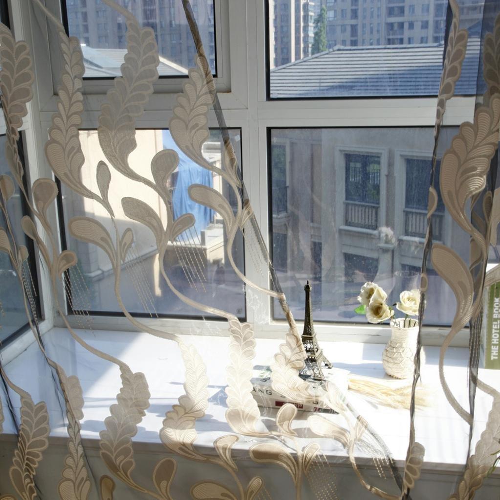 Grau BZLine/® 1 Panel Weizen Sheer Gardine T/üll Fensterbehandlung Voile Vorhang