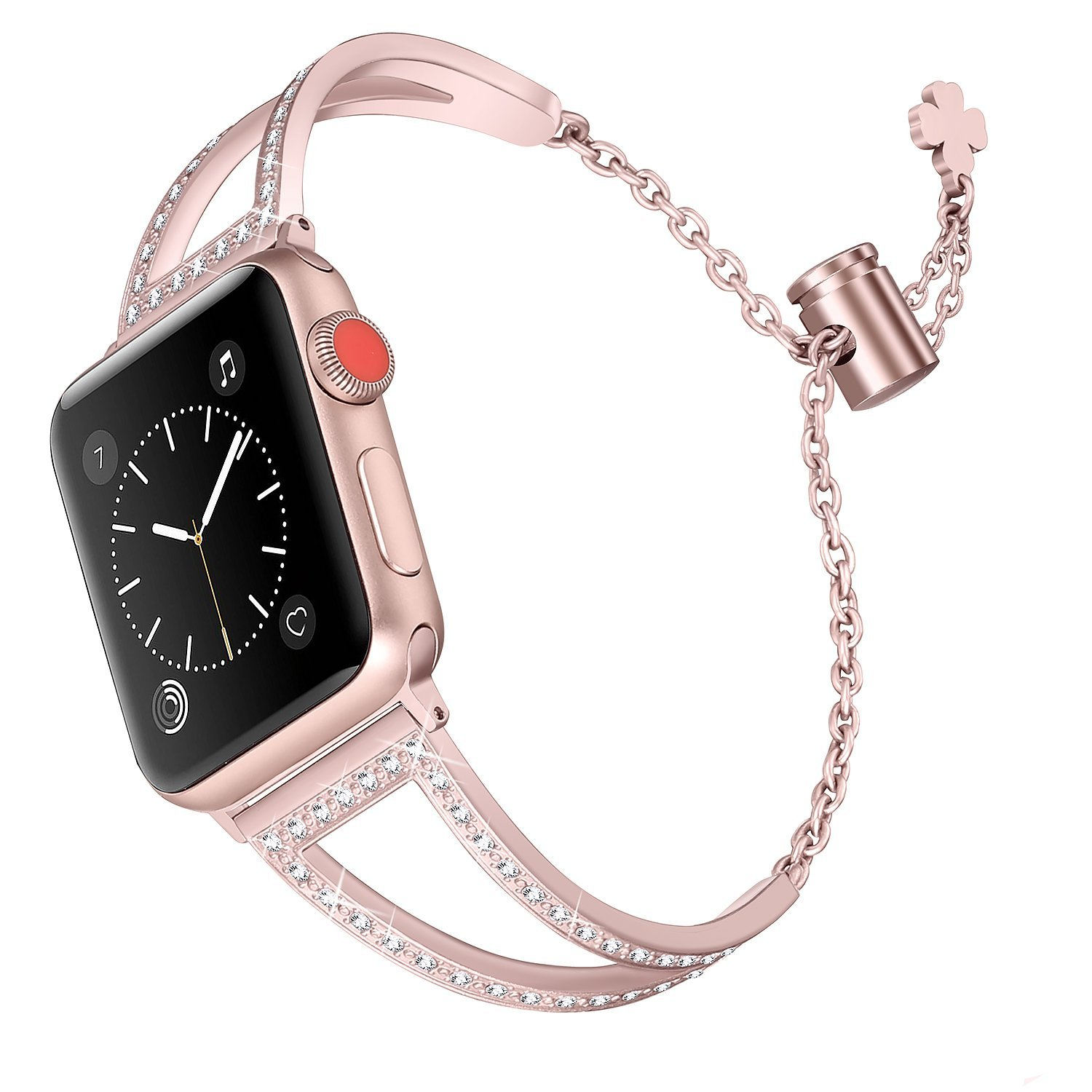 Secbolt Bling Bands Compatible Apple Watch Iwatch Band Series 4 40mm, Series 3/2/1 38mm, Women Stainless Steel Metal Jewelry Bracelet Bangle Wristband, Rose Gold by Secbolt (Image #1)