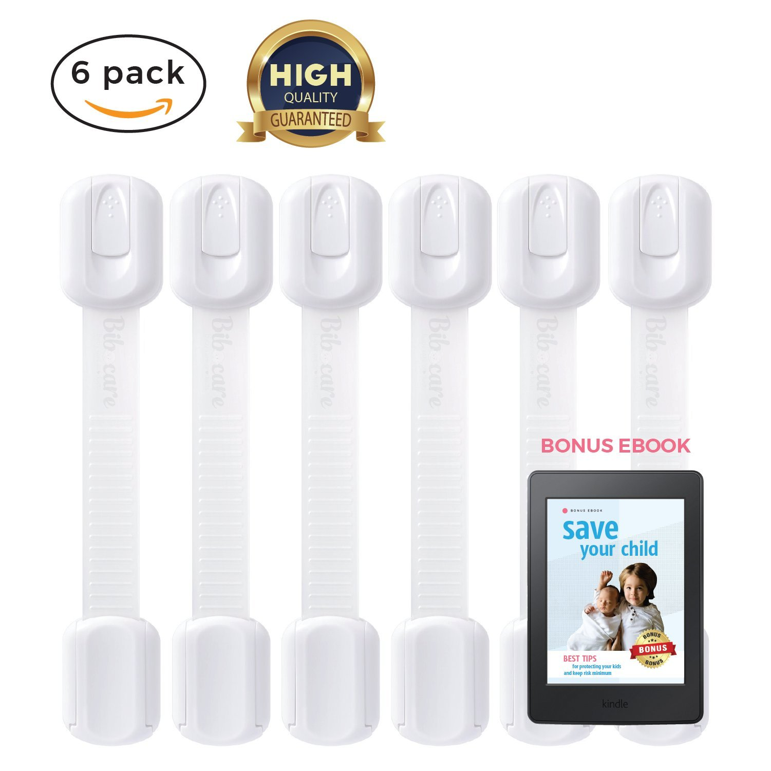 Child Proof Cabinet Locks | Baby Proof Door Lock, Toilet Seat, Window, Cupboard, Fridge, Oven | Easy Install, Open | Durable 3M Adhesive with Adjustable Strap and Latches | 6-Pack White
