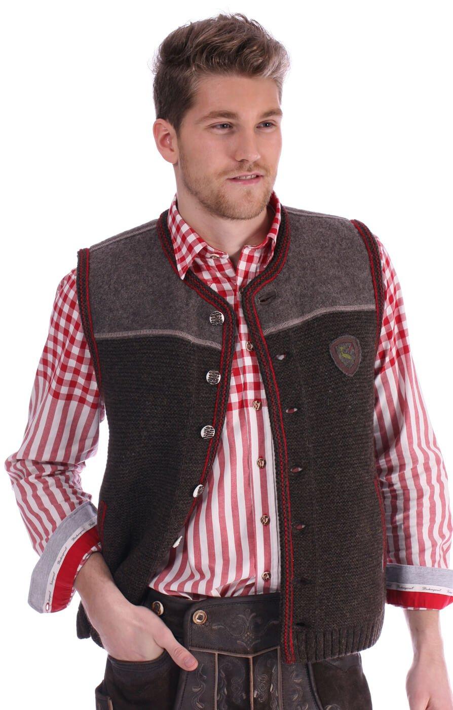 German knitted waistcoat Ramsau SW darkbrown-red