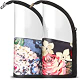 NiceEbag 2 in 1 Makeup Brush Holder Organizer Bag Stand-Up Make-up Brush Cup Half-Clear Travel Cosmetic Toiletry Pouch for Woman Girls, Peony&Orchid