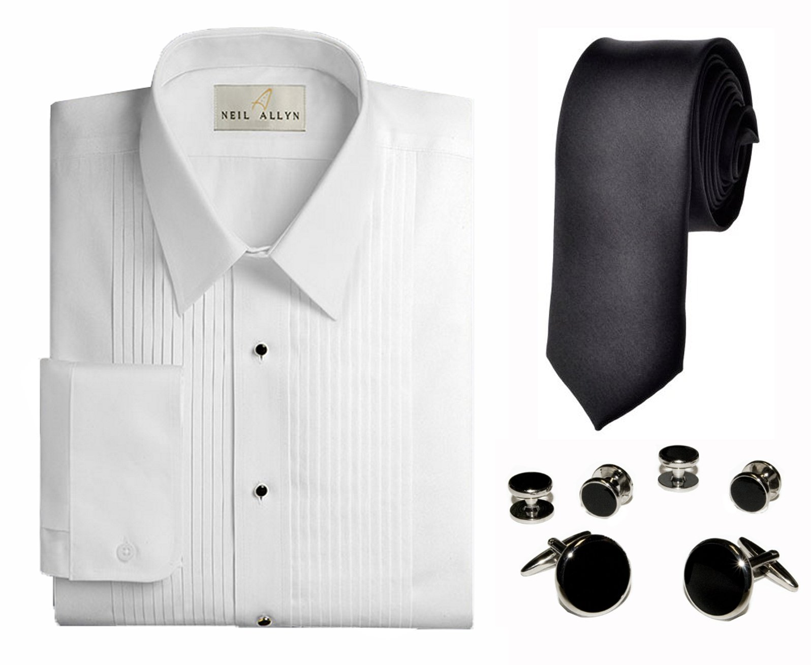 Neil Allyn Men's 1/4'' Pleat Tuxedo Shirt & Accessories 3-Piece Set, Lg 34/35