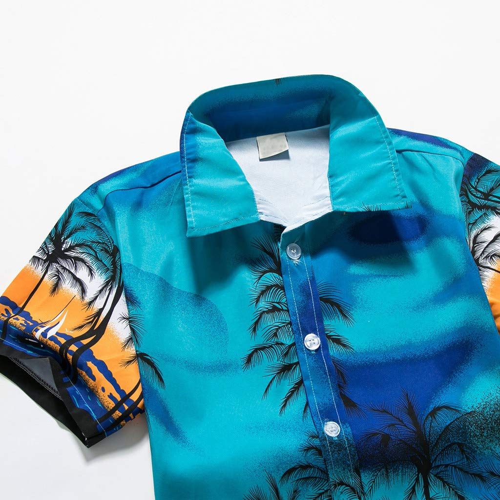 NUWFOR Men Hawaiian Print Short T-Shirt Sports Beach Quick Dry Blouse Top Blouse(Blue,XXL US Chest:48.8'' by NUWFOR (Image #3)