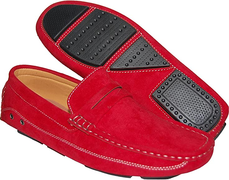red suede loafers