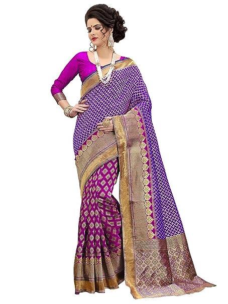 3786ad8546cff Bharat Plaza Pink Royal Blue Combination Banarasi Silk Saree Sari with  Blouse  Amazon.co.uk  Clothing