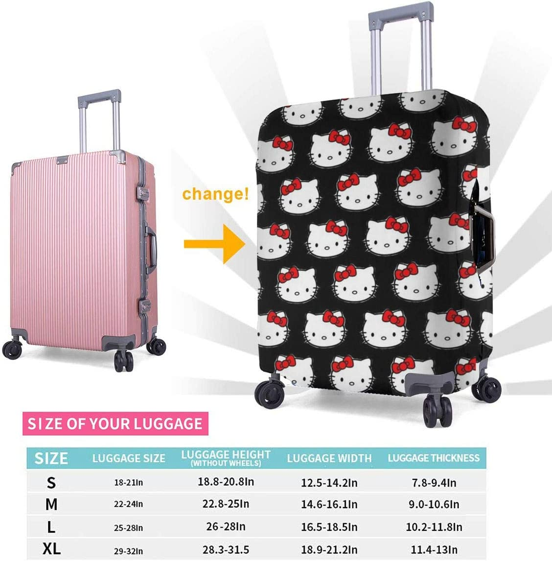 Classic Kitty Baggage Protective Travel Elastic Suitcase Protecter Fits 18-32 Inch Luggage Luggage Cover