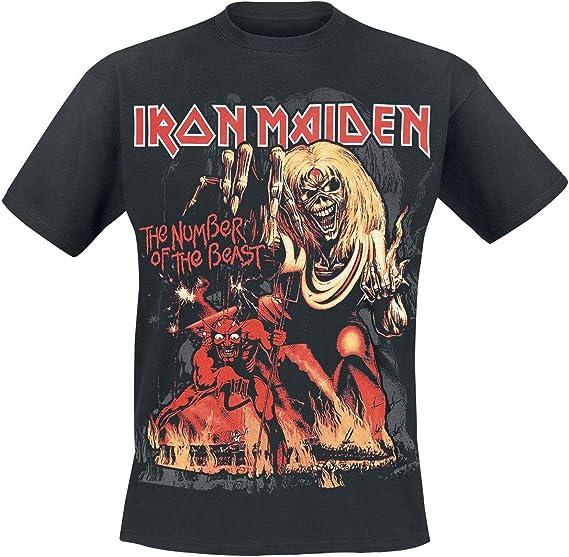 Iron Maiden Number Of The Beast Graphic Camiseta Negro M: Amazon.es: Ropa y accesorios