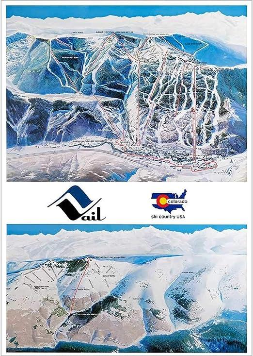 Jackson Hole Mnt Resort Ski Runs Historic Map Artwork Wall Art Print Vintage