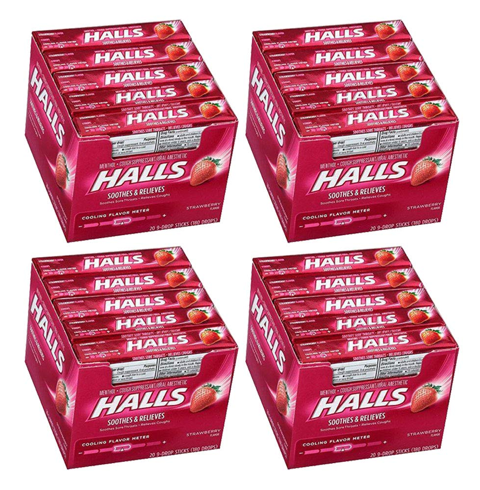 Halls Cough Drops Strawberry Suppressant Oral Soothes Relieves Lozenge Throat (80 Sticks, Strawberry) by Halls