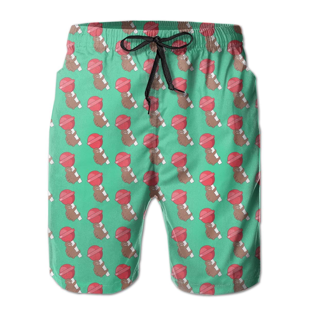 Sloth and A Lollipop Pattern Mens Beach Shorts Summer Casual Swimming Shorts