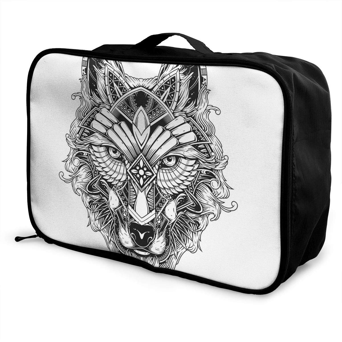 ADGAI Wolf Canvas Travel Weekender Bag,Fashion Custom Lightweight Large Capacity Portable Luggage Bag,Suitcase Trolley Bag