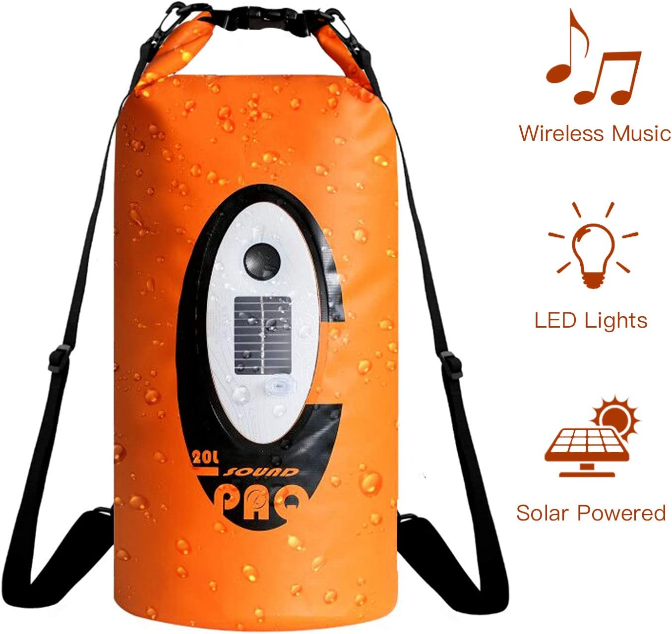ztarx Waterproof Dry Bag Speaker, Dry Bag Backpack with Bluetooth Speaker Solar Powered and USB Powered 20L Roll Top Dry Sack Keeps Gear Dry for Kayaking, Rafting, Boating,Camping