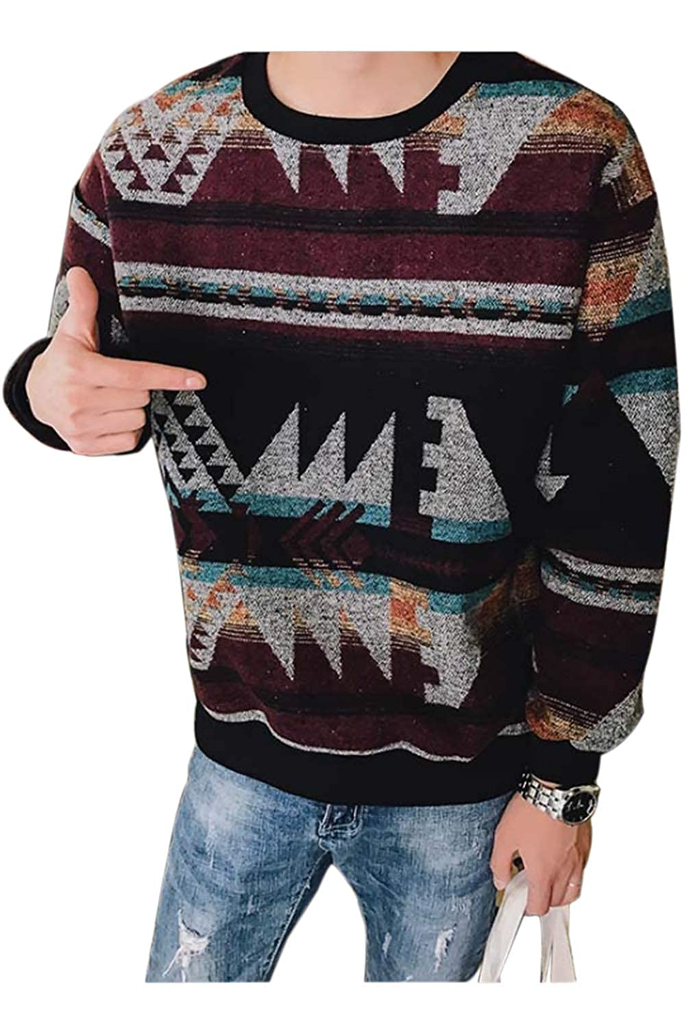 Zonsaoja Sweaters for Men Floral Jumper Knitted Pullover Casual