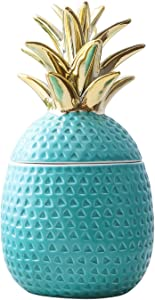 "Jojuno 9"" Ceramic Pineapple Centerpiece Decor Ananas Ceramic Candy Cookie Storage Jars, Figurine for Birthday Party Modern Coffee Desk Table Room Kitchen Home Girls Baby Bedroom Decorative, Green"