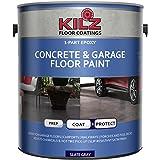 KILZ L377711 1-Part Epoxy Acrylic Interior/Exterior Concrete and Garage Floor Paint, Satin, Slate Gray, 1-Gallon, 1 Gallon, 4