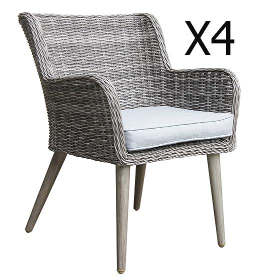 Lote de 4 sillones de jardín de aluminio/resina trenzado ...