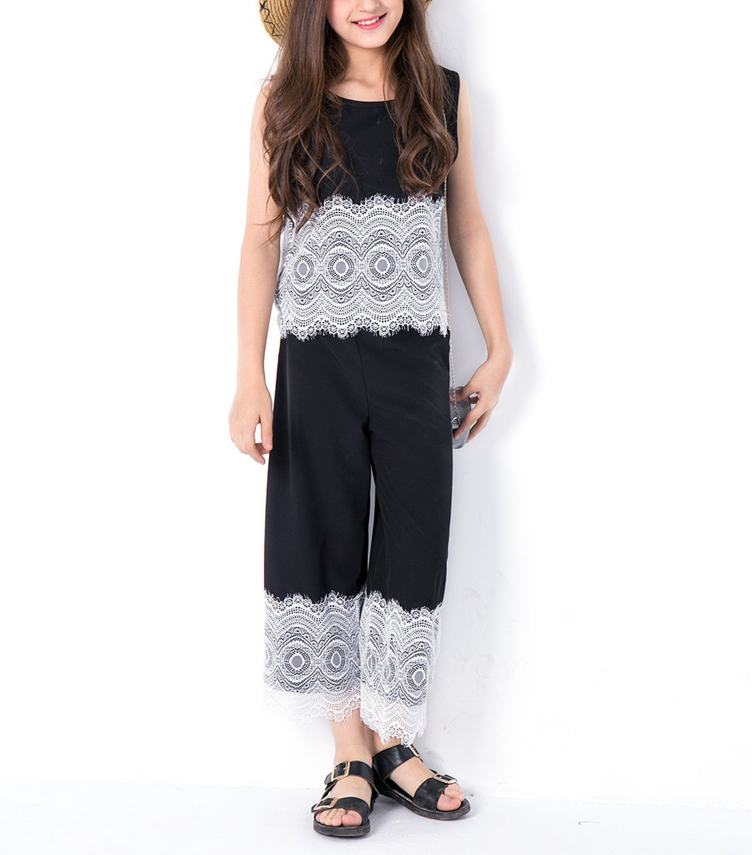 Zcaosma Girls Sets Cotton Lace Two-Piece Tops Pants Teenage Girls Clothing,Black,12