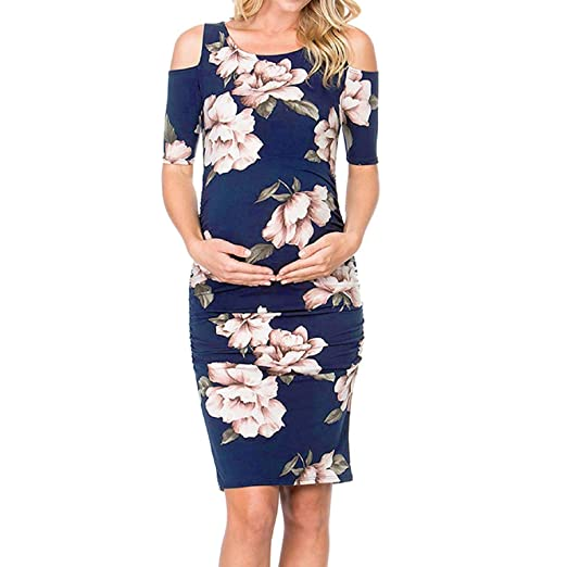 8ef3184ff7b09 Women's Maternity Casual Dress, Cold Shoulder Short Sleeve Floral Waist  Ruched Bodycon Pregnancy Dresses Navy