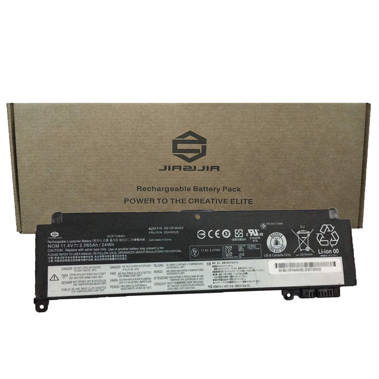 JIAZIJIA Compatible Laptop Battery with Lenovo 00HW025 [11.4V 24Wh 2065mAh] ThinkPad T460S T470S Series Notebook SB10F46463 Black - 1 Year Warranty