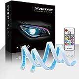 SilverHolder LED Headlight Strip Tube Light 17.7 Inch Flexible Car Led Light Strip Multi Color Daytime Running Light…