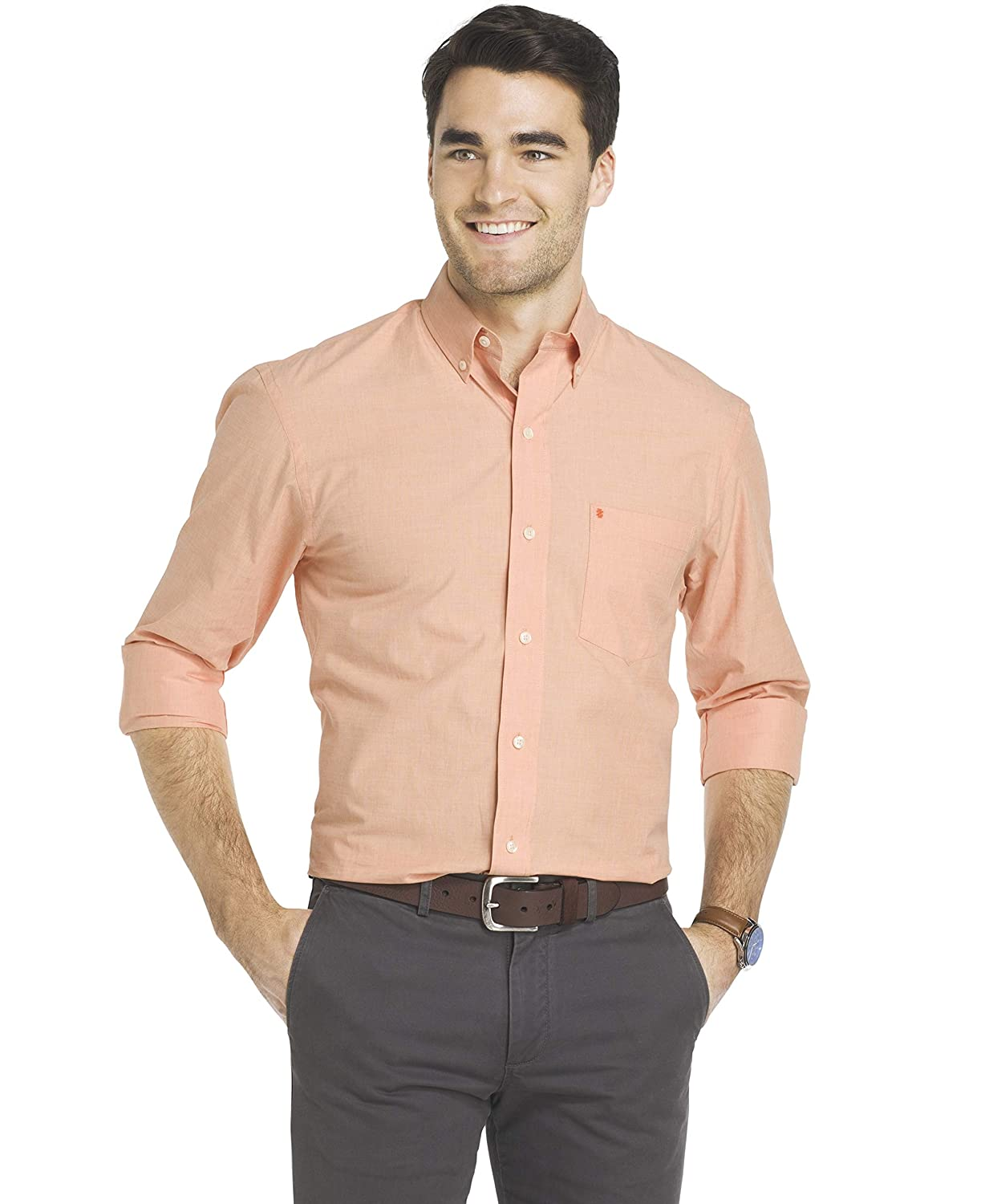 IZOD Mens Button Down Long Sleeve Stretch Performance Solid Shirt