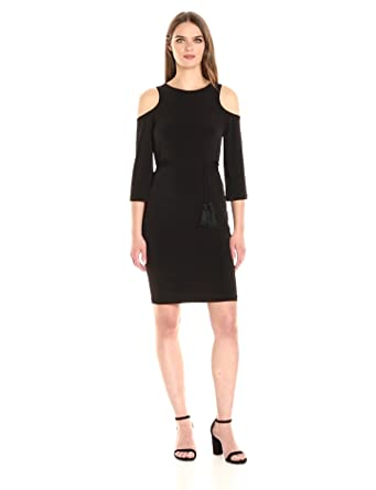 Calvin Klein Womens Long Sleeve Jersey Dress With Cold Shoulder At