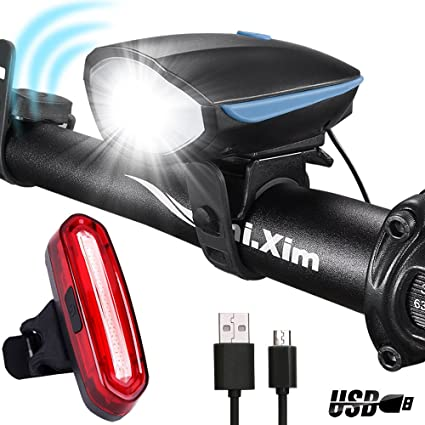 USB Rechargeable Bike Front Light 250LM Cycling Headlamp with Loud Horn Speaker