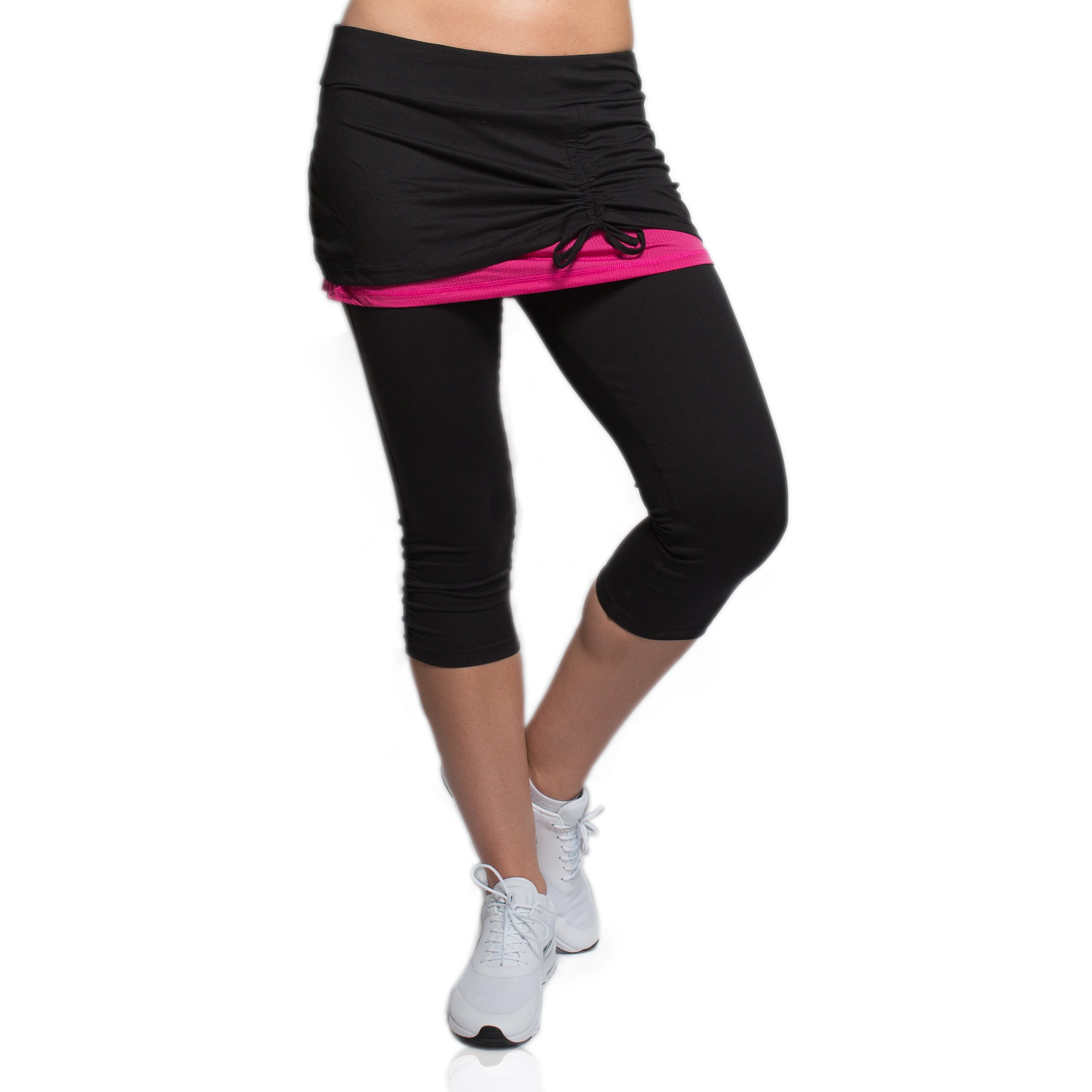 Alex + Abby Women's Energy Skirted Capri Legging Large Black/Magenta