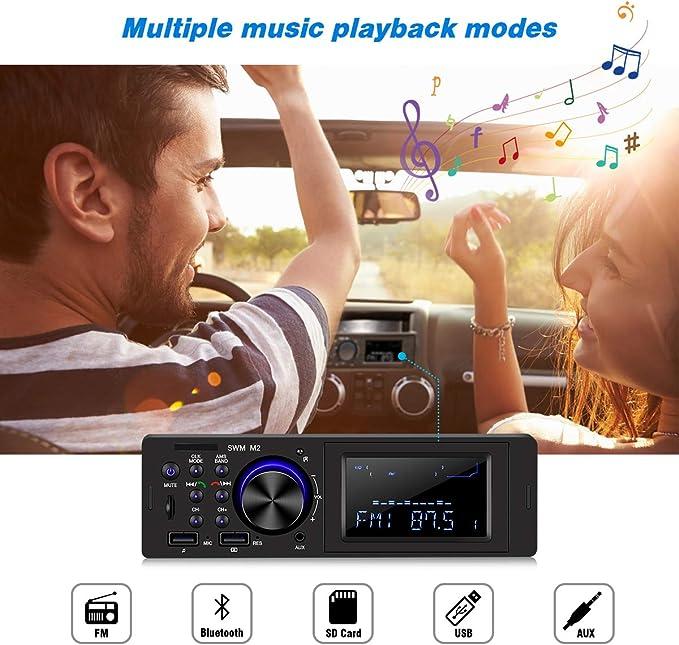 HOMEASY Radio de Coche con Bluetooth y Sintonizador FM para Coche con Cable de Audio de 3,5 mm, Equipo Estéreo Digital con Entrada de Audio USB/AUX/TF