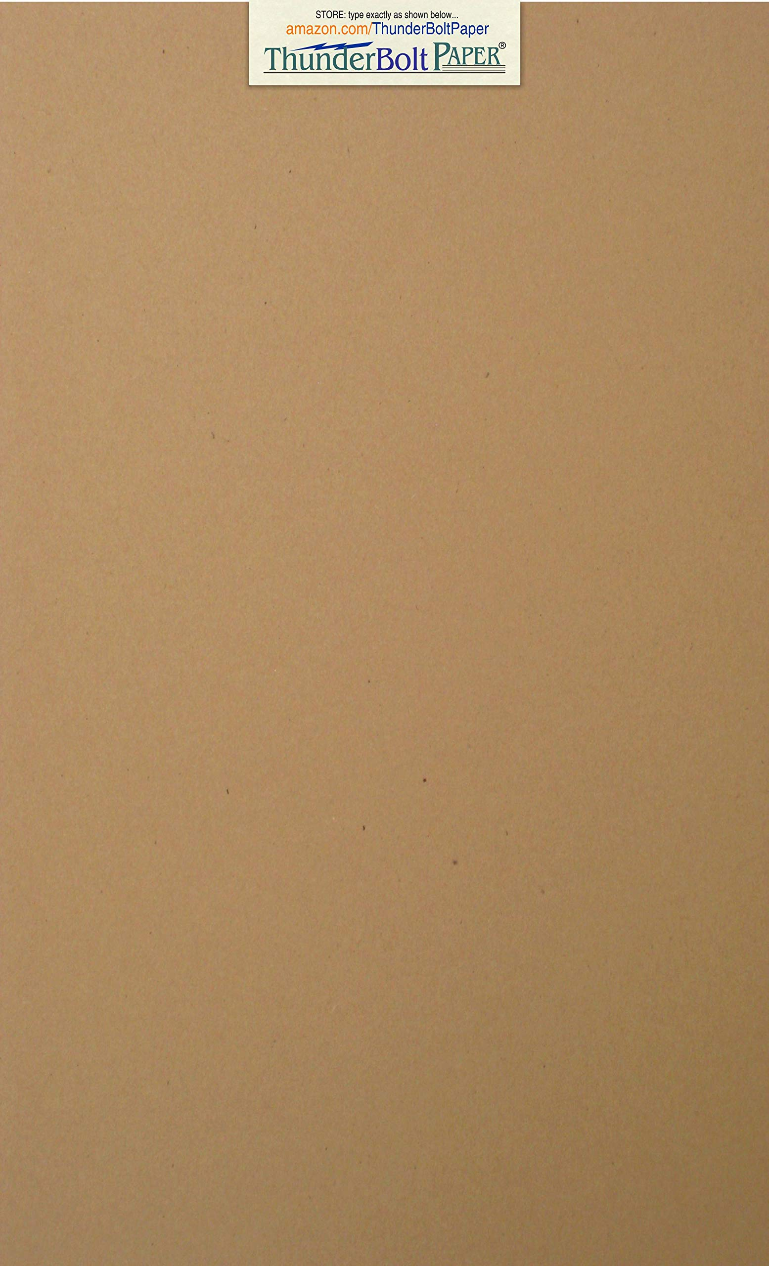 100 Brown Kraft Fiber 80# Cover Paper Sheets - 8.5'' X 14'' (8.5X14 Inches) Legal|Menu Size - Rich Earthy Color with Natural Fibers - 80lb/pound Cardstock - Smooth Finish by ThunderBolt Paper
