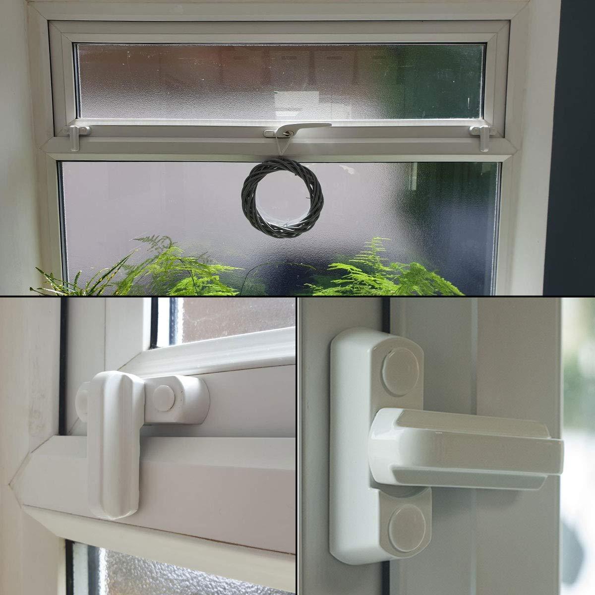Zinc Cast Alloy Extra Security Lock Sash Blocker ASelected 10 X Sash Jammers Window Locks for Patio Door UPVC PVC Windows Restrictor White