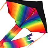 Large Rainbow Delta Kite - Easy to Assemble, Launch, Fly - Premium Quality, Great for Beach Use - The Best Kite for Everyone - Girls, Boys, Kids, Adults, Beginners and Pros - by Impresa