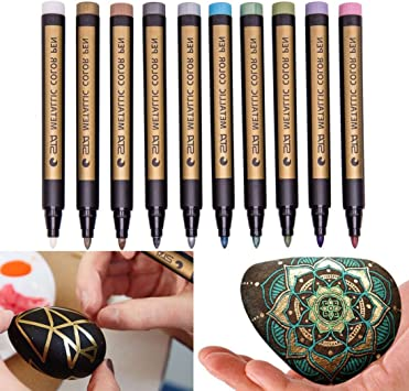 YJYdada 10 Pcs Assorted Colored Metallic Permanent Paint Markers Pens Metallic Marker