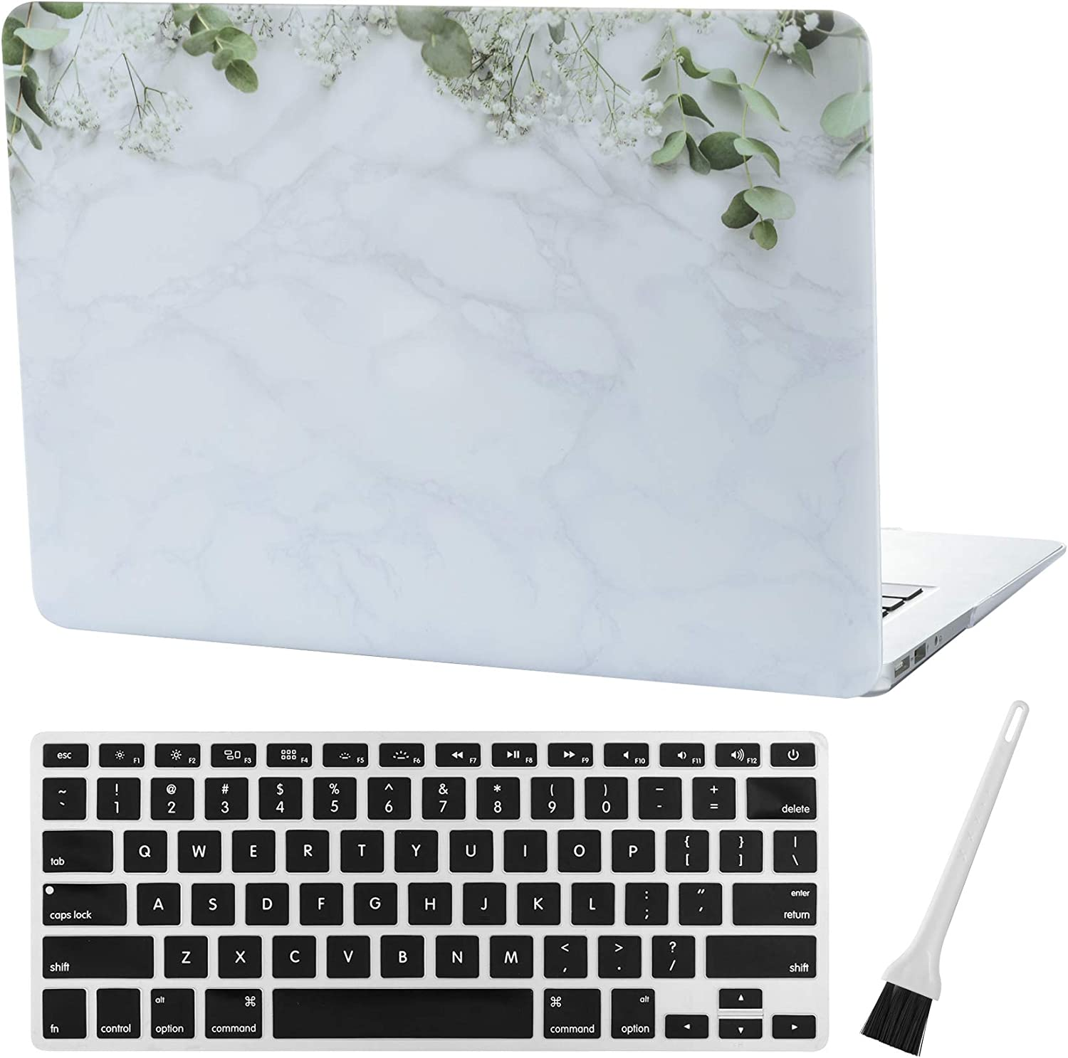 MacBook Air 13 inch Case A1369 A1466 Laptop Hard Case Matte Rubberized Hard Shell Case Cover (Old Version 2010-2017) & Silicone Keyboard Cover & Dust Brush-Marble Flowers