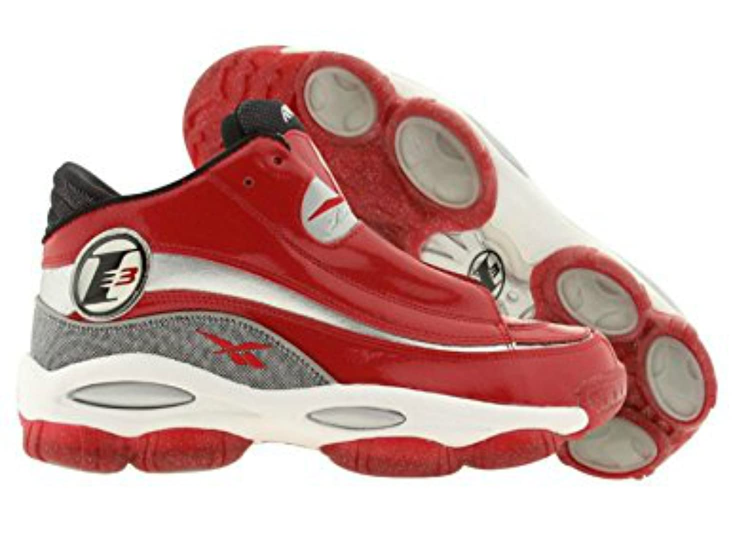 Reebok Mens Answer DMX 10 Allen Iverson Basketball Shoes Red Silver White Black