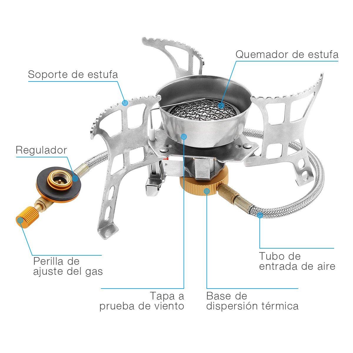 isYoung Estufa de Gas Quemador Hornillo Camping de Butano Horno de Split Plegable Portátil A Prueba de Viento Cocinar Al Aire Libre para Cocina de Camping ...