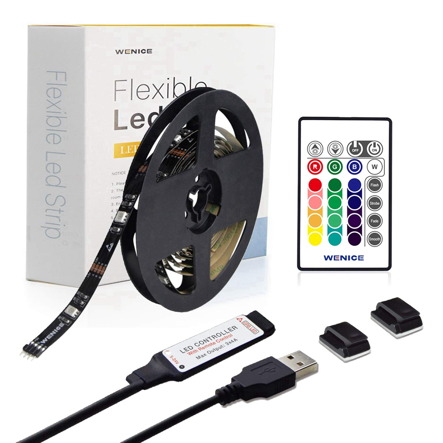 LED Strip Lights 15ft for TV 65 to 75inch,WENICE tv Backlight Strip 4.5m with 24key IR Remote Multi Color-The Longer