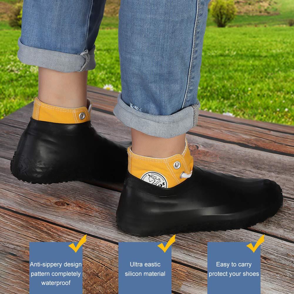 copriscarpe Galoshes da viaggio per uomini Bolonbi 2 paia di copriscarpe impermeabili riutilizzabili in silicone per stivali da pioggia donne e bambini