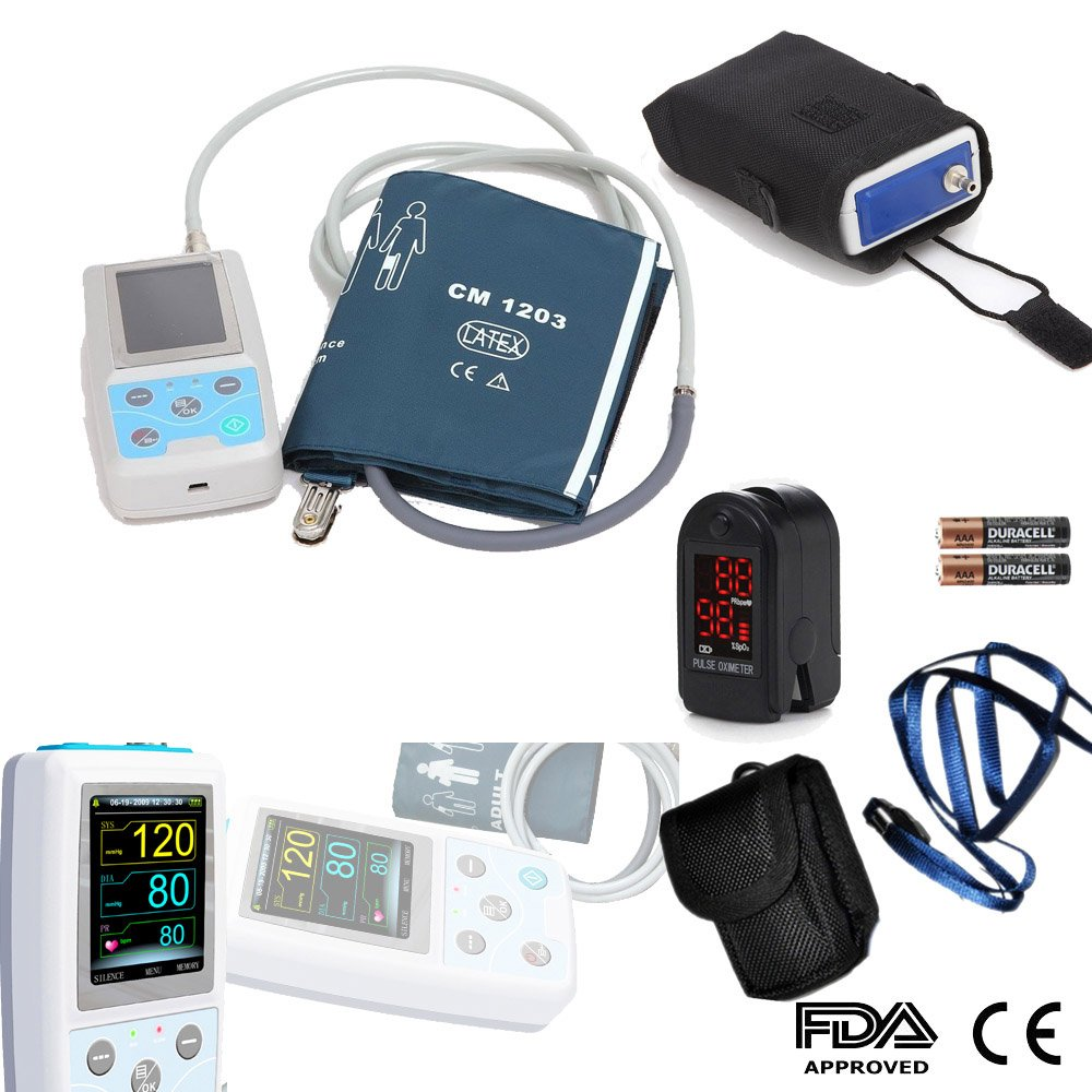 CONTEC ABPM50 Ambulatory Blood Pressure Monitor with PC Software For Continuous Monitoring+USB Port Free oximeter as gift