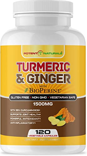 Potent Naturals Turmeric Curcumin with Bioperine and Ginger 1500mg 120 Vegetable Capsules – Supports Joint Health, Anti Inflammatory, Antioxidant Supplement – High Strength, Non GMO, Gluten, Soy Free
