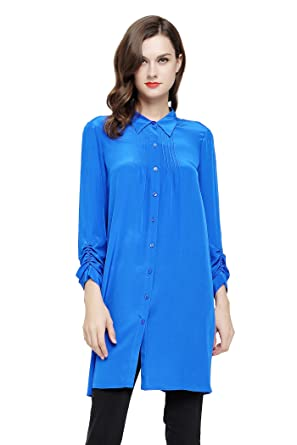 72ec931195823 Image Unavailable. Image not available for. Color  VOA Women s Blue Long  Sleeve Button Down Boyfriend Shirt Silk ...