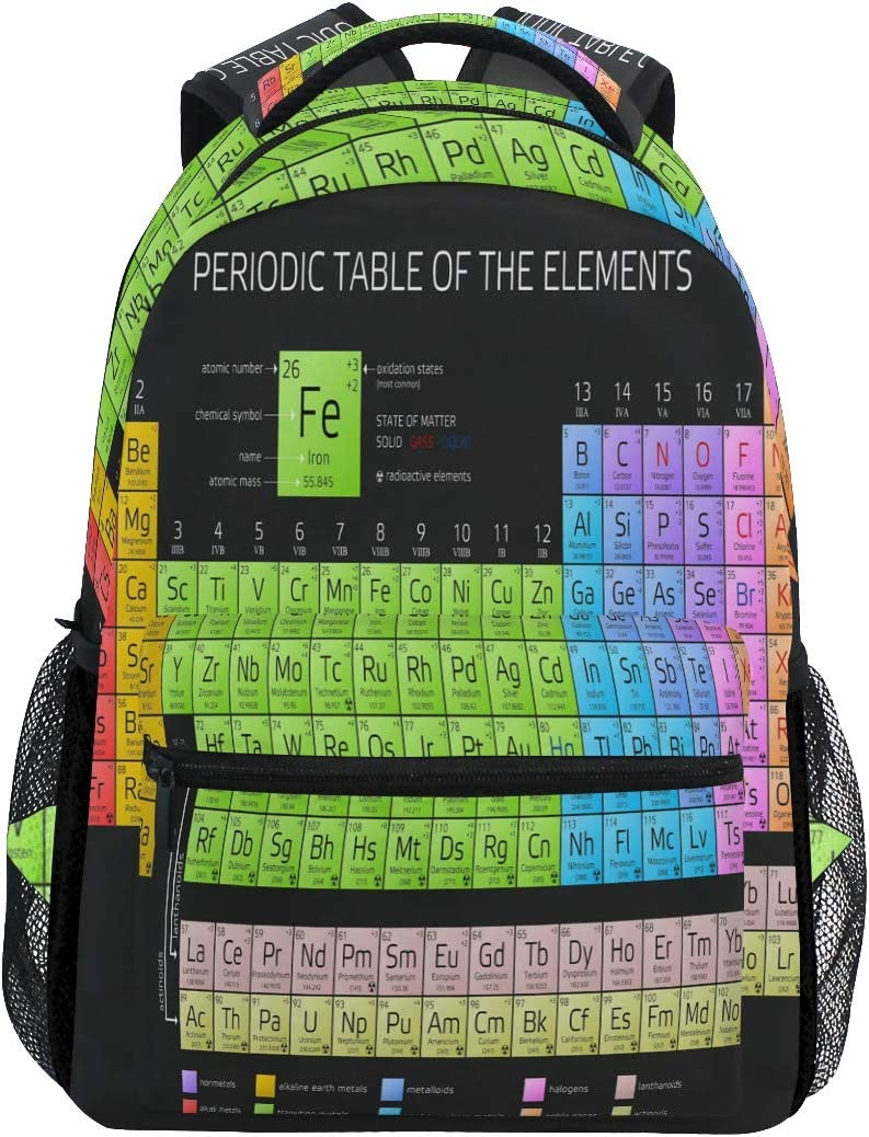 WXLIFE Periodic Table of The Elements Educational Backpack Travel Shoulder Bag