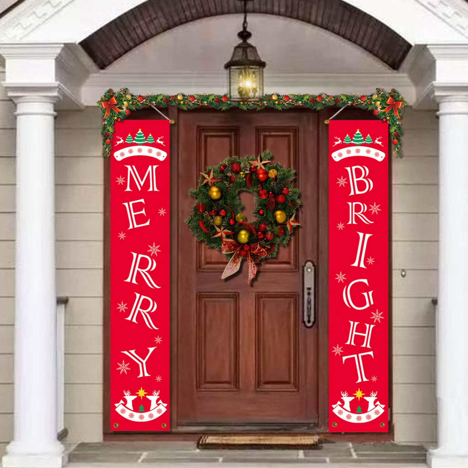 JOZON Christmas Decorations Outdoor Indoor Merry Bright Porch Sign Red Xmas Decor Banners for Holiday Home Wall Door Apartment Party Christmas New Year Decorations