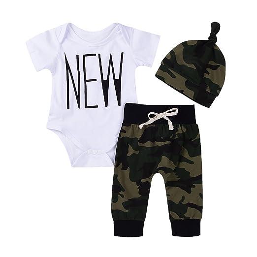 99df55c04920e Amazon.com: Imsmart New 3PCS Newborn Baby Boys Cute Letter Print Romper+Camouflage  Pants+Hat Outfits Set: Clothing