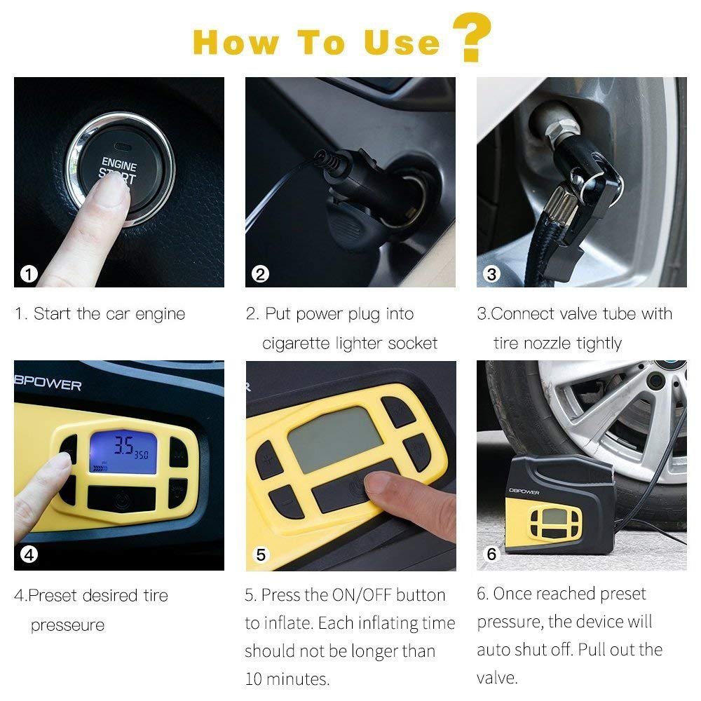 DBPOWER Portable 12V DC Tire Inflator, Digital LCD Display Air Compressor Pump for Cars, Bicycles and Balls with 3 Modes Function LED Lighting by DBPOWER (Image #5)