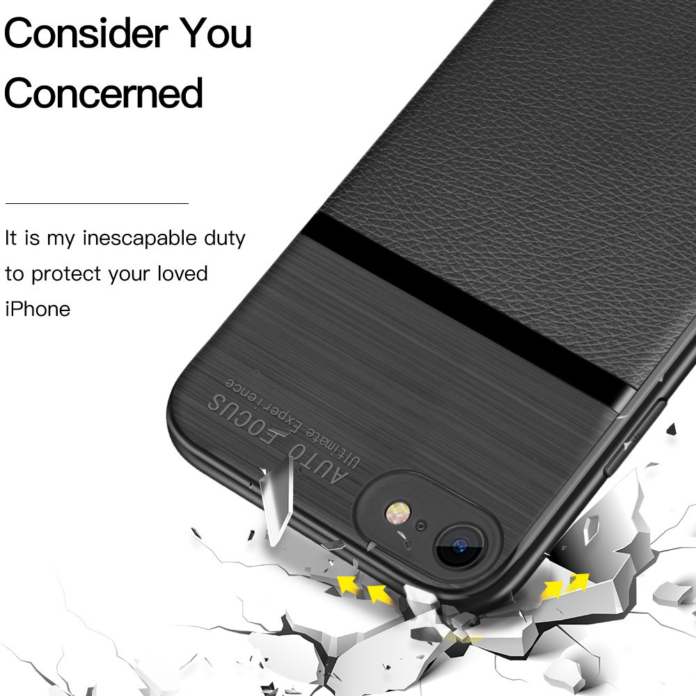 iPhone 8 Case, iPhone 7 Case, JASBON Soft TPU Brushed Carbon Fiber Phone Case Ultra Thin Breathable Cover Shockproof Protective Case for Apple iPhone 8/7-Black